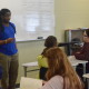 "Paducah poet Samuel ""Snacks"" Hawkins performs for class"